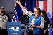 03 NOVEMBER 2020 - DES MOINES, IOWA: THERESA GREENFIELD, the Democratic candidate for the US Senate, waves to the crowd before delivering her concession speech at the Renaissance Des Moines Savery Hotel after her loss in the race for the US Senate. Greenfield conceded to incumbent Republican Sen. Joni Ernst at about 11:45PM November 3.     PHOTO BY JACK KURTZ