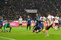 Danilo D'Ambrosio of Inter saves a shot of Edin Dzeko of Roma <br /> Milano 31-10-2015 Stadio Giuseppe Meazza / San Siro Football Calcio Serie A 2015/2016 Inter - AS Roma Foto Andrea Staccioli / Insidefoto