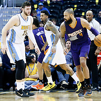 16 November 2016: Denver Nuggets center Jusuf Nurkic (23) defends on Phoenix Suns center Tyson Chandler (4) during the Denver Nuggets 120-104 victory over the Phoenix Suns, at the Pepsi Center, Denver, Colorado, USA.