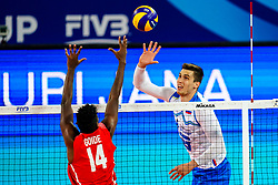 Klemen Cebulj of Slovenia vs Adrian Eduardo Goide Arredondo of Cuba during volleyball match between Cuba and Slovenia in Final of FIVB Volleyball Challenger Cup Men, on July 7, 2019 in Arena Stozice, Ljubljana, Slovenia. Photo by Matic Klansek Velej / Sportida
