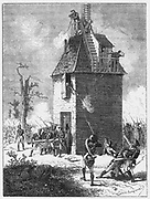 Napoleon's soldiers defending a telegraph post shortly before his defeat by Wellington. This would have been fitted with the Chappe optical/aerial telegraph (semaphore) system. From Louis Figuier 'Les Merveilles de la Science', Paris, c1870. Engraving.