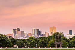Downtown skyline from Amon Carter Museum of Western Art, Fort Worth, Texas. USA.