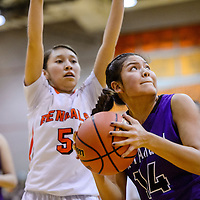 Miyamura Patriot Lauren Thomas (14) spins clear of the Gallup Bengal defense Monday at Gallup High School.