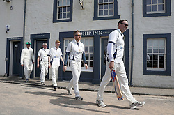 Embargoed to 0001 Monday August 28 Players from the Ship Inn Cricket Club before their match against the Eccentric Flamingoes Cricket Club on Sunday April 30th, 2017, in front of the pub in Elie, Fife, which is the only one in Britain to have a cricket team with a pitch on the beach. The Ship Inn Cricket Club season runs from May to September with dates of matches dependent on the tides. Any Batsman who hits a six which lands in the Ship Inn beer garden wins their height in beer and any spectator who catches a six in the beer garden also wins their height in beer.