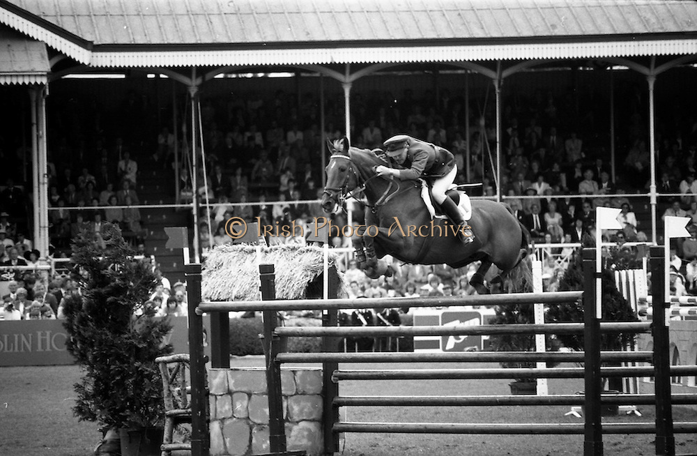 """07/08/1987<br /> 08/07/1987<br /> 07 August 1987<br /> Bank of Irelands Nations Cup for the Aga Khan trophy competition. Commandant Gerry Mullins on """"Rockbarton""""."""