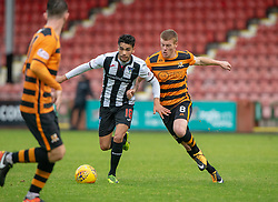 Dunfermline's Faissal El Bakhtaoui an dAlloa Athletic's Jon Robertson. Dunfermline 2 v 2 Alloa Athletic. Alloa win on penalties. Irn Bru cup game played 13/10/2018 at Dunfermline's home ground, East End Park.