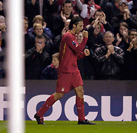 Photo: Jed Wee.<br />Liverpool v Anderlecht. UEFA Champions League.<br />01/11/2005.<br /><br />Liverpool's Fernando Morientes celebrates his goal.