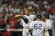 Alex Rodriguez of the New York Yankees during the 2007 Major League Baseball Playoffs. Bugs infested the playing diamond at Jacobs Field in Cleveland.