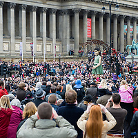 LIVERPOOL, UK, 20th April, 2012. The Sea Odyssey. Huge crowds come out to see the little girl giant at St Georges Hall.