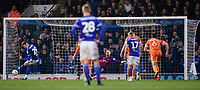 Blackpool's Jak Alnwick dives the wrong way as Ipswich Town's Luke Garbutt scores his side's second goal, from the penalty spot<br /> <br /> Photographer Chris Vaughan/CameraSport<br /> <br /> The EFL Sky Bet League One - Ipswich Town v Blackpool - Saturday 23rd November 2019 - Portman Road - Ipswich<br /> <br /> World Copyright © 2019 CameraSport. All rights reserved. 43 Linden Ave. Countesthorpe. Leicester. England. LE8 5PG - Tel: +44 (0) 116 277 4147 - admin@camerasport.com - www.camerasport.com
