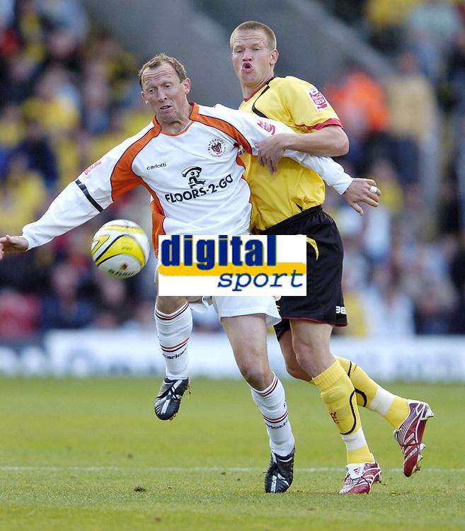 Photo: Jonathan Butler.<br /> Watford v Blackpool. Coca Cola Championship. 29/09/2007.<br /> Andy Morrell of Blackpool hands off Jay DeMerit of Watford.