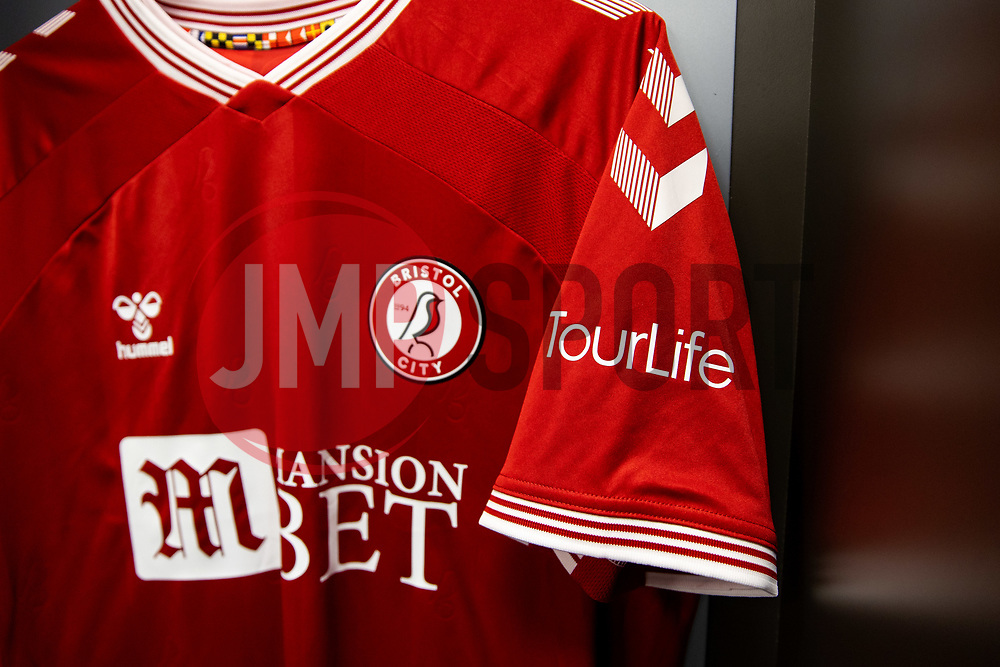 TourLife sponsor the Bristol City shirt for this match - Rogan/JMP - 24/09/2020 - Ashton Gate Stadium - Bristol, England - Bristol City v Aston Villa - Carabao Cup Third Round.