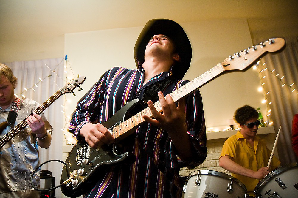 Guitarist Matt Spitz and the rest of the 12-piece Stanford student band TGIFunk performs at the Maison Francaise student house in Stanford, California on February 15, 2008.