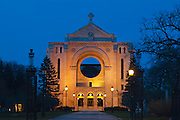 St. Boniface Cathedral facade at dusk<br /> Winnipeg<br /> Manitoba<br /> Canada