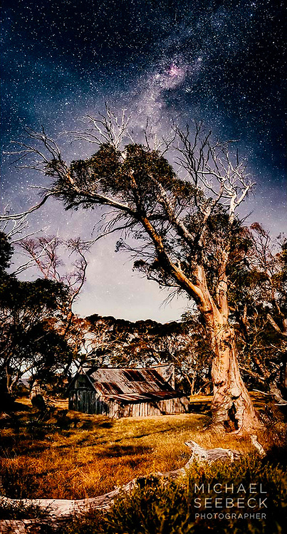 High Cloud passes over during a moonlit night at Wallace's Hut, in the Bogong High Plains of Victoria.