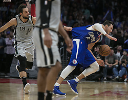 November 15, 2018 - Los Angeles, California, U.S - Danilo Gallinari #8 of the Los Angeles Clippers is fouled by Marco Belinelli #18 of the San Antonio Spurs during their NBA game on Thursday November 15, 2018 at the Staples Center in Los Angeles, California. Clippers defeat Spurs, 116-111. (Credit Image: © Prensa Internacional via ZUMA Wire)