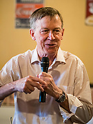 08 JULY 2019 - CRESTON, IOWA: Former Governor JOHN HICKENLOOPER (D-CO) talks to Iowa voters at a campaign meet and greet in Creston. Hickenlooper is running to be the Democratic nominee in the 2020 Presidential election. At least five staffers left Hickenlooper's campaign last week, including his campaign manager, communications director, digital director and finance director. Hickenlooper named M.E. Smith, who worked on Hickenlooper's successful reelection as Colorado Governor in 2014, as his campaign manager on July 1. Iowa is the first state to hold a presidential selection event in the 2020 election cycle. The Iowa caucuses are February 3, 2020.             PHOTO BY JACK KURTZ