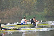Caversham, Great Britain,   Bow, Cameron NICHOL, and Greg SEARLE.  November sculling Test and Pairs race.  Caversham Lake, GB Rowing,  Training Centre.  Thursday 17/11/2011 [Mandatory Credit. Peter Spurrier/Intersport Images]