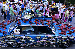 Stock photo of a fish and lobster car