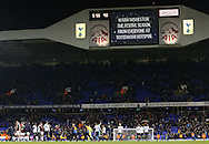 Tottenham's scoreboard wishes fans well during the Premier League match at White Hart Lane Stadium, London. Picture date December 18th, 2016 Pic David Klein/Sportimage