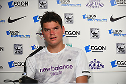 June 20, 2017 - London, England, United Kingdom - Milos Raonic (CAN) is seen at the Press Conference at AEGON Championships at Queen's Club, London, on June 20, 2017. (Credit Image: © Alberto Pezzali/NurPhoto via ZUMA Press)