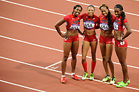 LONDON OLYMPIC GAMES 2012 - OLYMPIC STADIUM , LONDON (ENG) - 11/08/2012 - PHOTO : STEPHANE KEMPINAIRE / POOL / KMSP / DPPI<br /> ATHLETICS -  WOMEN'S 4 X 400 M RELAY - FINAL - GOLD MEDAL - USA TEAM - DEEDEE TROTTER - ALLYSON FELIX - FRANCENA MC CORORY - SANYA RICHARDS-ROSS (USA)