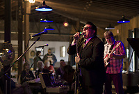 Mr Nick's Blues Mafia on stage during the Monster Ball at Pitman's Freight Room Sunday afternoon.  (Karen Bobotas/for the Laconia Daily Sun)