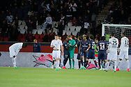 Kevin Trapp (PSG) stopped the ball kicked by Jonathan DELAPLACE (SM Caen), celebration with Serge Aurier (psg), Marcos Aoas Correa dit Marquinhos (PSG), Maxwell Scherrer Cabelino Andrade (psg), Presnel Kimpembe (PSG), Adrien Rabiot (psg), Blaise Mathuidi (psg), desapointed by Jonathan DELAPLACE (SM Caen), Julien FERET (SM Caen), Ronny RODELIN (SM Caen), Jean-Victor MAKENGO (SM Caen) during the French Championship Ligue 1 football match between Paris Saint-Germain and SM Caen on May 20, 2017 at Parc des Princes stadium in Paris, France - Photo Stephane Allaman / ProSportsImages / DPPI