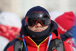 February 12, 2018 - Pyeongchang, KOREA - Spectators bundle up in the cold and windy weather at the ladies halfpipe qualification during the Pyeongchang 2018 Olympic Winter Games at Phoenix Snow Park. (Credit Image: © David McIntyre via ZUMA Wire)