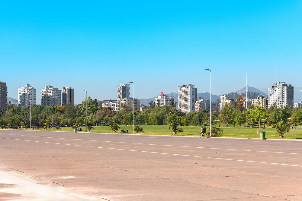 Santiago, Region Metropolitana, Chile - People enjoying a summer evening in Parque O'Higgins at downtown.