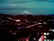 Y-540105-01.  Night view of Mt. Hood & Portland from Oregonian composing room. Color transparency January 5, 1954