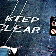 Traffic sign with road markings