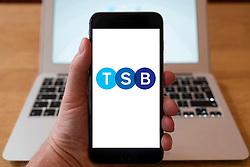 Using iPhone smartphone to display logo of TSB Bank