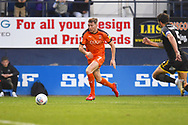 Luton Town player Jack Stacey finds some room in the box in the lead up to the opening goal in the first half during the EFL Sky Bet League 1 match between Luton Town and AFC Wimbledon at Kenilworth Road, Luton, England on 23 April 2019.