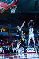 NORMAL, IL - October 23: Abdou Ndiaye takes a short jumper over Alex McQuinn during a college basketball game between the ISU Redbirds and the Truman State Bulldogs on October 23 2019 at Redbird Arena in Normal, IL. (Photo by Alan Look)