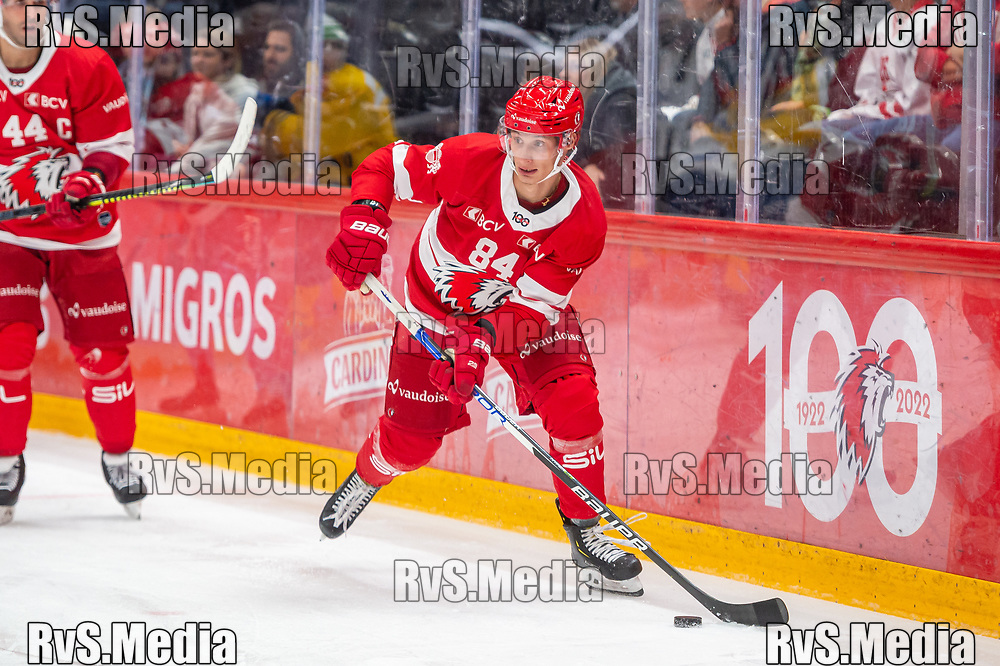 LAUSANNE, SWITZERLAND - SEPTEMBER 24: Loic In-Albon #84 of Lausanne HC in action during the Swiss National League game between Lausanne HC and HC Davos at Vaudoise Arena on September 24, 2021 in Lausanne, Switzerland. (Photo by Monika Majer/RvS.Media)