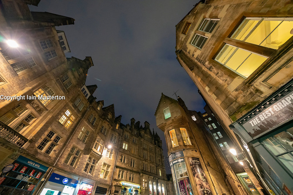 Night view of old buildings lining historic Cockburn Street in Edinburgh Old Town, Scotland ,UK