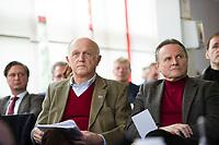 DEU, Deutschland, Germany, Berlin, 13.03.2016: Hans-Joachim Berg, stv. AfD-Landesvorsitzender, und Georg Pazderski, Berliner AfD-Landesvorsitzender, beim Landesparteitag der Partei Alternative für Deutschland (AfD) im Kolumbus Hotel.