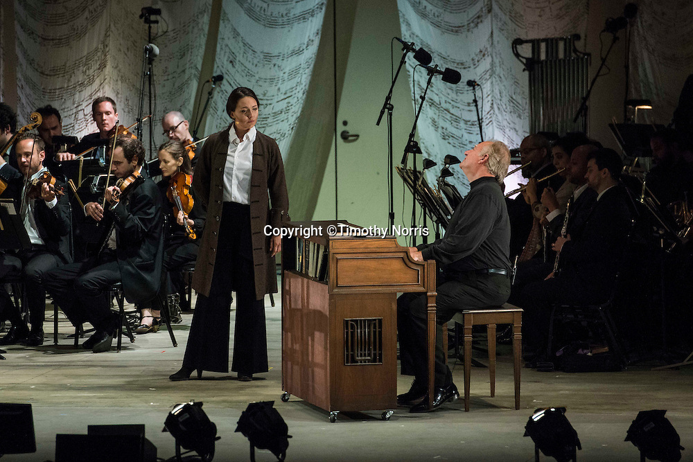 """Peabody Southwell (mezzo-soprano) as """"Schumann"""" and Kim Josephson (baritone) as """"Charles Rosen"""" in the world premiere of Steven Stucky and Jeremy Denk's The Classical Style: An Opera (of Sorts) at the 68th Ojai Music Festival at Libbey Bowl on June 13, 2014 in Ojai, California."""