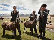 Kyrgyz herders adore their smartphones, which they acquire by bartering and keep charged with solar panels. The gadgets, which first appeared in the Afghan Pamir in 2010, are useless for communication—cellular service doesn't reach the isolated plateau—so they're used to play music and take photos. Phones, like all imported goods in the Pamir, are brought on the back of yaks or horses.<br /> <br /> Wedding celebration at Kitshiq Aq Jyrga.<br /> <br /> Trekking through the high altitude plateau of the Little Pamir mountains (average 4200 meters) , where the Afghan Kyrgyz community live all year, on the borders of China, Tajikistan and Pakistan.