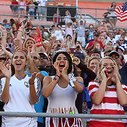 U.S. supporters are seen during a women's soccer International friendly match between Brazil and the United States National Team, at the Florida Citrus Bowl  on Sunday, November 10, 2013 in Orlando, Florida. The U.S won the game by a score of 4-1.  (AP Photo/Alex Menendez)