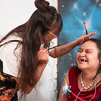 Elwanda Cook, right, laughs as Monica Platero applies her makeup Friday, Feb. 7 at Night to Shine at the New Life Christian Assembly in Pinedale. Night to Shine is a prom for adults and teens older than 14 with special needs sponsored by the Tim Tebow Foundation. The prom is free of charge and this is the second year that Pastor Nathan Lynch and New Life Christian Assembly host the prom in Pinedale.