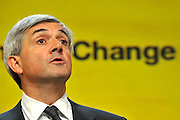 © Licensed to London News Pictures. 20/09/2011. BIRMINGHAM, UK.   Chris Huhne delivers his speech on the climate at the Liberal Democrat Conference at the Birmingham ICC today (20 Sept 2011): Stephen Simpson/LNP . Photo credit : Stephen Simpson/LNP