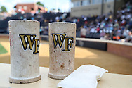 WINSTON-SALEM, NC - JUNE 02: Wake Forest batting donuts. The Wake Forest Demon Deacons hosted the University of Maryland Baltimore County Retrievers on June 2, 2017, at David F. Couch Ballpark in Winston-Salem, NC in NCAA Division I College Baseball Tournament Winston-Salem Regional Game 2. Wake Forest won the game 11-3.