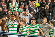 Nir Bitton holds the William Hill Scottish Cup aloft following their victory today in the William Hill Scottish Cup Final match between Heart of Midlothian and Celtic at Hampden Park, Glasgow, United Kingdom on 25 May 2019.