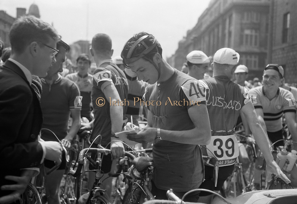View of the formal start of the 1964 Rás Tailteann at O'Connell Street. 65 riders started on the 8 day round Ireland cycle race..05.07.1964.