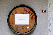 The sign outside the winery of Cave Durand. Tasting only on appointment.  Domaine Eric et Joel Joël Durand, Ardeche, Ardèche, France, Europe