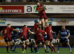 Jean Kleyn of Munster claims the lineout<br /> <br /> Photographer Simon King/Replay Images<br /> <br /> Guinness PRO14 Round 4 - Cardiff Blues v Munster - Friday 21st September 2018 - Cardiff Arms Park - Cardiff<br /> <br /> World Copyright © Replay Images . All rights reserved. info@replayimages.co.uk - http://replayimages.co.uk