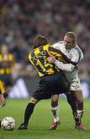 13/3/2004 Madrid, Spain.<br />La Liga, day 28.<br />R.Madrid 1 - Zaragoza 1<br />R.Madrid's D.Beckham in duel against Zaragoza's Ponzio at Santiago Bernabeu's Stadium.<br />© 2004 Alejandro leon Fernandez