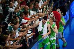 Alen Omic of Slovenia and Gezim Morina of Slovenia celebrate after winning the basketball match between National teams of Turkey and Slovenia in Qualifying Round of U20 Men European Championship Slovenia 2012, on July 17, 2012 in Domzale, Slovenia. Slovenia defeated Turkey 72-71 in last second of the game. (Photo by Vid Ponikvar / Sportida.com)